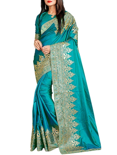 contrast thread embroidered saree with blouse - 15729738 - Standard Image - 1
