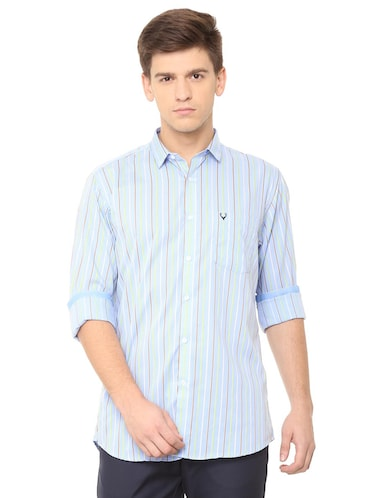 blue cotton casual shirt - 15729829 - Standard Image - 1