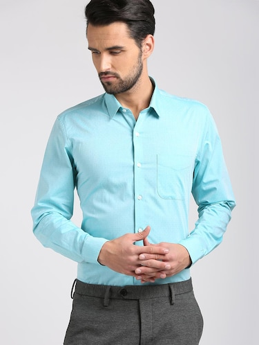 blue cotton formal shirt - 15729845 - Standard Image - 1