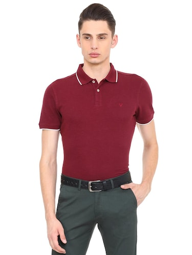 maroon cotton polo t-shirt - 15729984 - Standard Image - 1