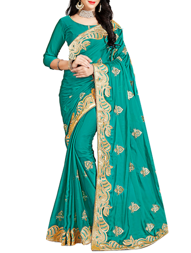 turquoise embroidered saree with blouse - 15730023 - Standard Image - 1