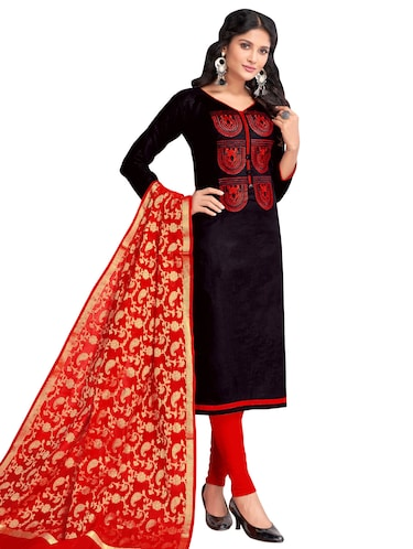 Embroidered churidaar suit with banarasi dupatta - 15730031 - Standard Image - 1