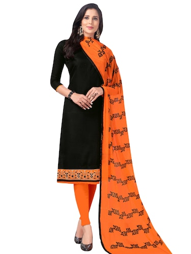Embroidered semi-stitched churidaar suit - 15730047 - Standard Image - 1