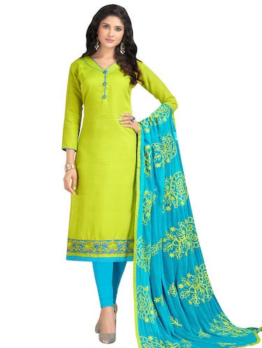 Embroidered semi-stitched churidaar suit - 15730049 - Standard Image - 1