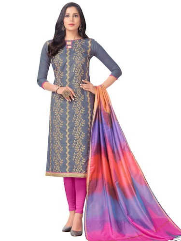 Embroidered semi-stitched churidaar suit - 15730052 - Standard Image - 1