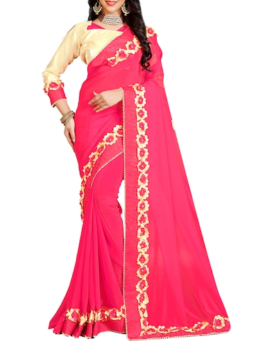floral lace border saree with blouse - 15730062 - Standard Image - 1