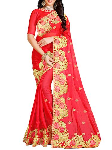 floral embroidered saree with blouse - 15730084 - Standard Image - 1