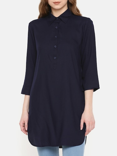 navy blue button detail tunic - 15730327 - Standard Image - 1