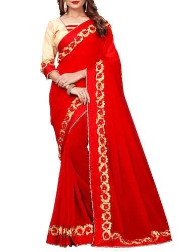 floral lace border saree with blouse - 15730365 - Standard Image - 1