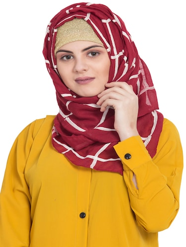 red cotton stole - 15730372 - Standard Image - 1