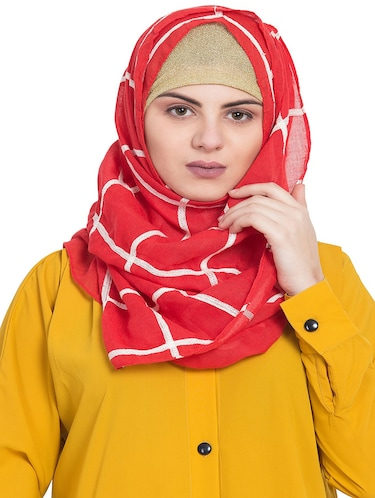 red cotton stole - 15730377 - Standard Image - 1