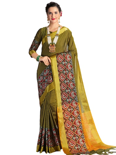 geometrical motif linen patola saree with blouse - 15731215 - Standard Image - 1
