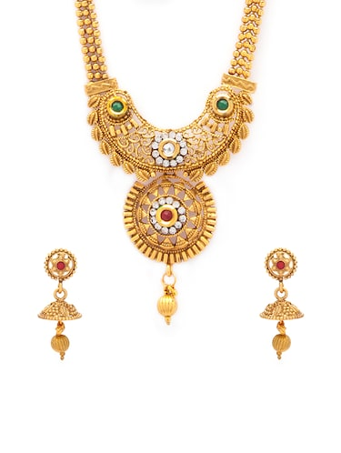 gold metal necklaces and earring - 15731217 - Standard Image - 1