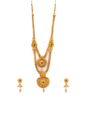 Gold Tone Necklace & Earrings Set - 15731234 - Standard Image - 1
