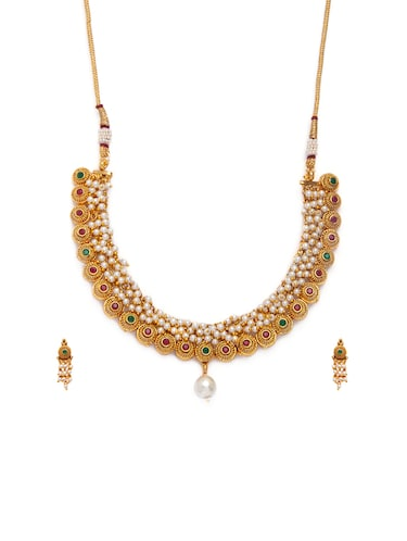 Gold Tone Necklace & Earrings Set - 15731236 - Standard Image - 1