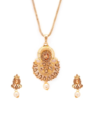 Gold Tone Necklace & Earrings Set - 15731250 - Standard Image - 1