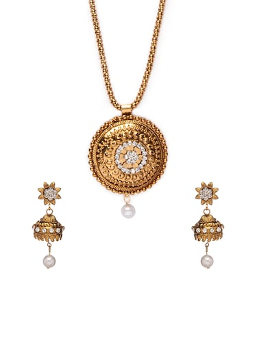 Gold Tone Necklace & Earrings Set - 15731256 - Standard Image - 1