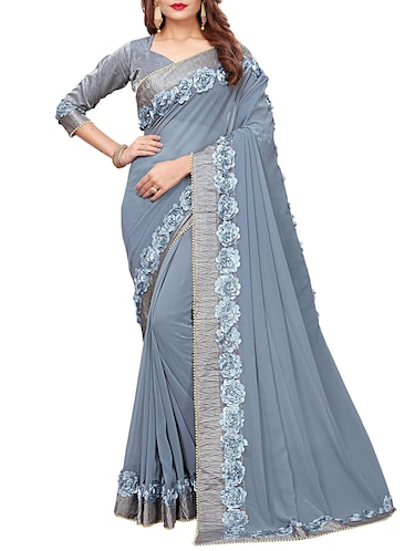 floral lace border saree with blouse - 15731269 - Standard Image - 1