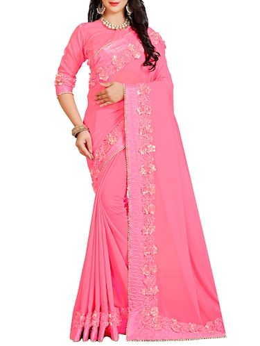 floral lace border saree with blouse - 15731272 - Standard Image - 1