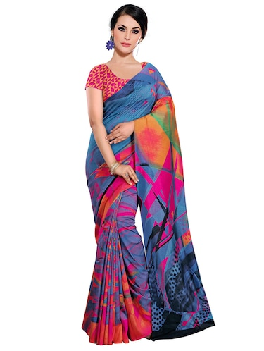 geometrical printed bhagalpuri saree with blouse - 15731313 - Standard Image - 1
