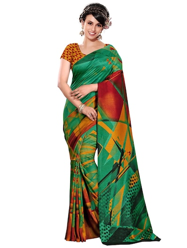 geometrical printed bhagalpuri saree with blouse - 15731315 - Standard Image - 1