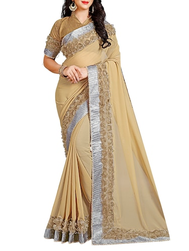floral lace border saree with blouse - 15731390 - Standard Image - 1