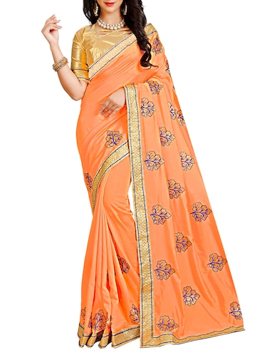 resham embroidered orange saree with blouse - 15731418 - Standard Image - 1