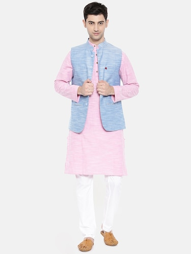 pink cotton kurta pyjama set with nehru jacket - 15731536 - Standard Image - 1