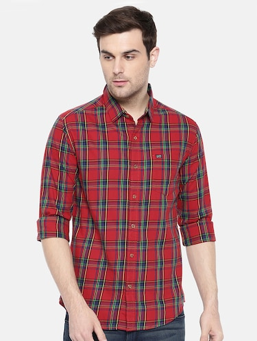 red cotton casual shirt - 15731580 - Standard Image - 1