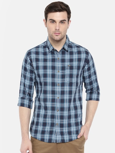 blue cotton casual shirt - 15731592 - Standard Image - 1