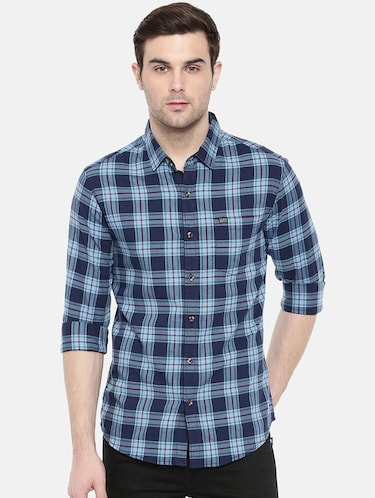 blue cotton casual shirt - 15731601 - Standard Image - 1