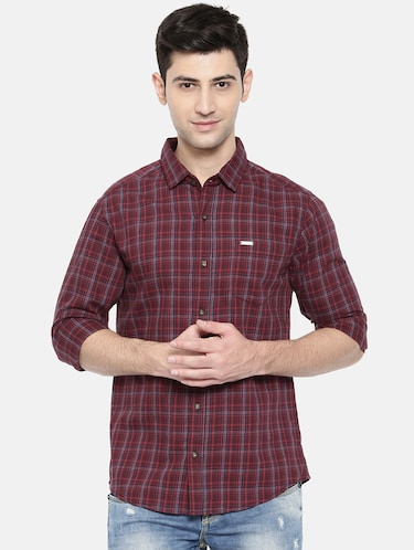 red cotton casual shirt - 15731617 - Standard Image - 1