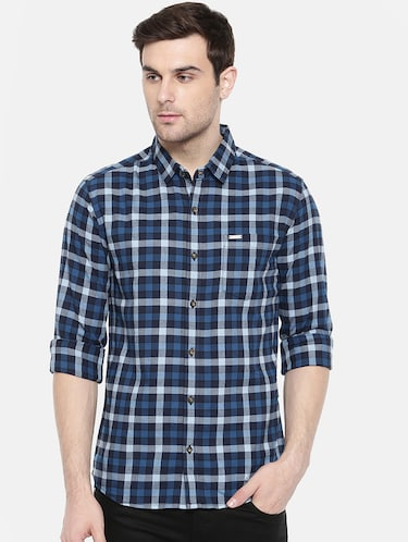 blue cotton casual shirt - 15731623 - Standard Image - 1