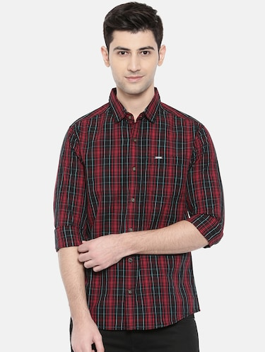 red cotton casual shirt - 15731625 - Standard Image - 1