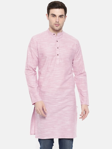 pink cotton long kurta - 15731641 - Standard Image - 1