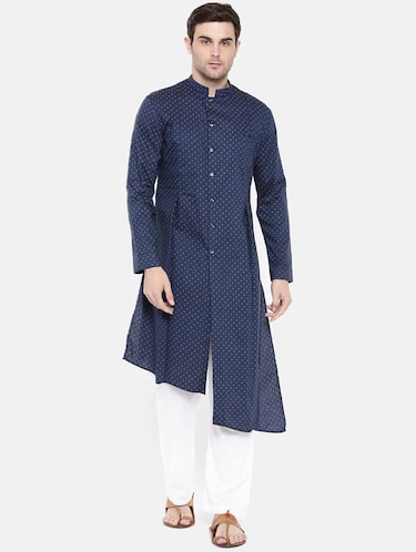 blue cotton asymmetric kurta - 15731652 - Standard Image - 1