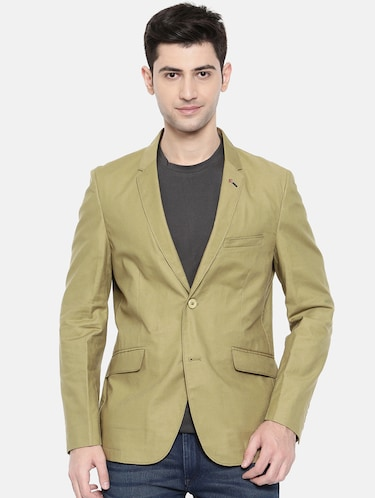 green cotton single breasted blazer - 15731674 - Standard Image - 1