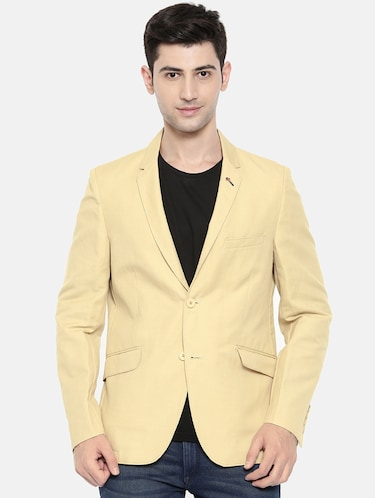 beige cotton single breasted blazer - 15731677 - Standard Image - 1