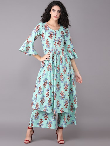 Printed bell sleeved kurta with palazzo set - 15731809 - Standard Image - 1