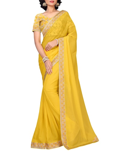 floral lace border saree with blouse - 15733051 - Standard Image - 1
