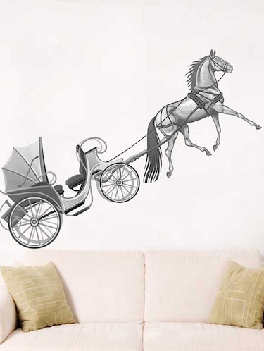 Rawpockets Wall Decals ' Horse Cart Wall Sticker '  Wall stickers (PVC Vinyl) Multicolour - 15733219 - Standard Image - 1