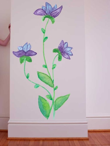 Rawpockets Wall Decals ' Violet Flower Wall Sticker '  Wall stickers (PVC Vinyl) Multicolour - 15733228 - Standard Image - 1