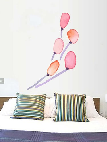 Rawpockets Wall Decals ' Red Tulip Flower and Blue Stem Wall Sticker '  Wall stickers (PVC Vinyl) Multicolour - 15733246 - Standard Image - 1