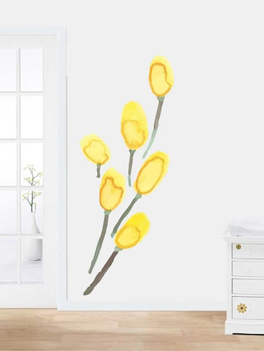 Rawpockets Wall Decals ' Yellow Modern Flower Wall Sticker '  Wall stickers (PVC Vinyl) Multicolour - 15733248 - Standard Image - 1