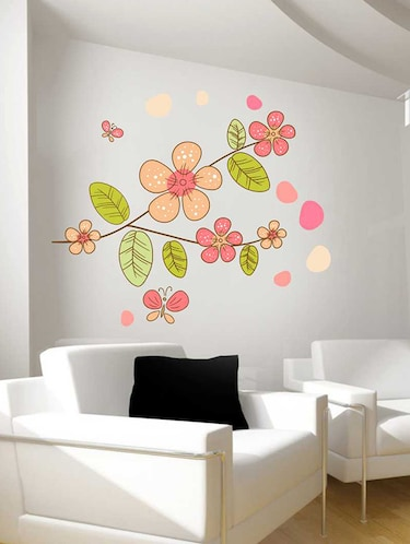 Rawpockets Wall Decals ' Flower Plant Wall Sticker '  Wall stickers (PVC Vinyl) Multicolour - 15733258 - Standard Image - 1