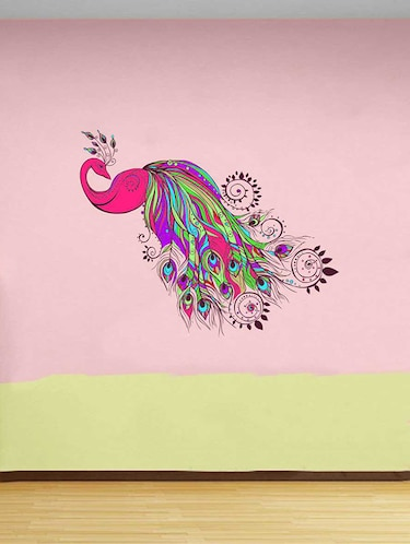 Rawpockets Wall Decals ' Pinkish Peacock Wall Sticker '  Wall stickers (PVC Vinyl) Multicolour - 15733278 - Standard Image - 1