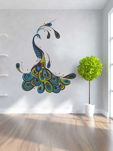 Rawpockets Wall Decals ' Decorative Peacock Wall Sticker '  Wall stickers (PVC Vinyl) Multicolour - 15733279 - Standard Image - 1