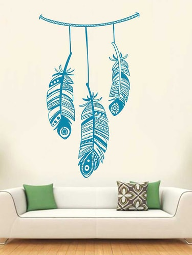 Rawpockets Wall Decals ' Good Vibes Feather Wall Sticker '  Wall stickers (PVC Vinyl) Multicolour - 15733280 - Standard Image - 1