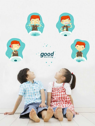 Rawpockets Wall Decals ' Good Morning Routine Wall Sticker '  Wall stickers (PVC Vinyl) Multicolour - 15733300 - Standard Image - 1