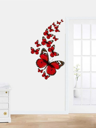Rawpockets Wall Decals ' Red Butterfly Family Wall Sticker '  Wall stickers (PVC Vinyl) Multicolour - 15733307 - Standard Image - 1